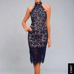 Lulu's Navy Lace Midi Dress